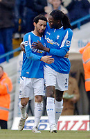 Photo: Glyn Thomas.<br />Birmingham City v Wigan Athletic. The Barclays Premiership. 02/01/2006.<br />Birmingham's Jermaine Pennant (L) celebrates with Mario Melchiot after giving his team a 1-0 lead.