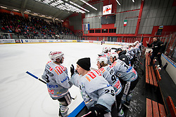 Players of Rittner Baum celebrate goal during Ice Hockey match between HDD SIJ Acroni Jesenice and Rittner Buam in 2nd Semifinal of Alpine League 2017/18 on March 24, 2018 in Arena Podmezakla, Jesenice, Slovenia. Photo by Urban Urbanc / Sportida