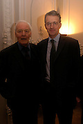 Tony Benn and his son Hilary Benn. 80th birthday celebration for Tony Benn given by his publisher, Hutchinson. Foreign Press Association. 5 April 2005. ONE TIME USE ONLY - DO NOT ARCHIVE  © Copyright Photograph by Dafydd Jones 66 Stockwell Park Rd. London SW9 0DA Tel 020 7733 0108 www.dafjones.com