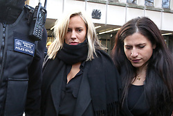 © Licensed to London News Pictures. 23/12/2019. London, UK. Radio presenter and Love Island host CAROLINE FLACK (L) leaves Highbury Corner Magistrates' Court after pleading not guilty to the charged for actual bodily harm. CAROLINE FLACK will appear before a Crown Court in March for a jury trail.  Photo credit: Dinendra Haria/LNP