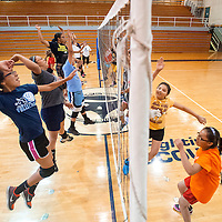 061913        Brian Leddy<br /> Players practice their attack during a volleyball camp in Window Rock Wednesday.