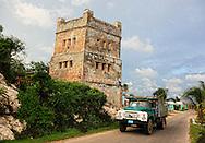 Truck and fortress in Gibara, Holguin, Cuba.