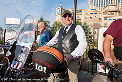 Terry Richardson of Kansas on his 1916 Harley-Davidson twin-cylinder 3-speed on the Atlantic City boardwalk at the start of the Motorcycle Cannonball Race of the Century. Stage-1 from Atlantic City, NJ to York, PA. USA. Saturday September 10, 2016. Photography ©2016 Michael Lichter.