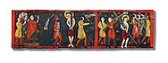 Romanesque painted Beam depicting The Passion and the Stations of the Cross<br /> <br /> Around 1192-1220, Tempera on wood from Catalonia, Spain.<br /> <br /> Acquisition of Museums Board's campaign in 1907. MNAC 15833.<br /> <br /> It is not known what was the original location of the beam, but it might have been part of the structure of a canopy. In any case, it was reused in a ceiling, as evidenced by the cuts that are at the top. It is decorated with seven scenes from the Passion and Resurrection of Christ, this scene shows Christ being whipped and carrying the cross on the road to Calvary. The narrative character in the images and the predominance of yellow is typical of Catalan painting of the 1200's,  specifically with illustrations of Liber Feudorum Maior, a late twelfth-century illuminated cartulary book style of the Crown of Aragon .<br /> <br /> If you prefer you can also buy from our ALAMY PHOTO LIBRARY  Collection visit : https://www.alamy.com/portfolio/paul-williams-funkystock/romanesque-art-antiquities.html<br /> Type -     MNAC     - into the LOWER SEARCH WITHIN GALLERY box. Refine search by adding background colour, place, subject etc<br /> <br /> Visit our ROMANESQUE ART PHOTO COLLECTION for more   photos  to download or buy as prints https://funkystock.photoshelter.com/gallery-collection/Medieval-Romanesque-Art-Antiquities-Historic-Sites-Pictures-Images-of/C0000uYGQT94tY_Y
