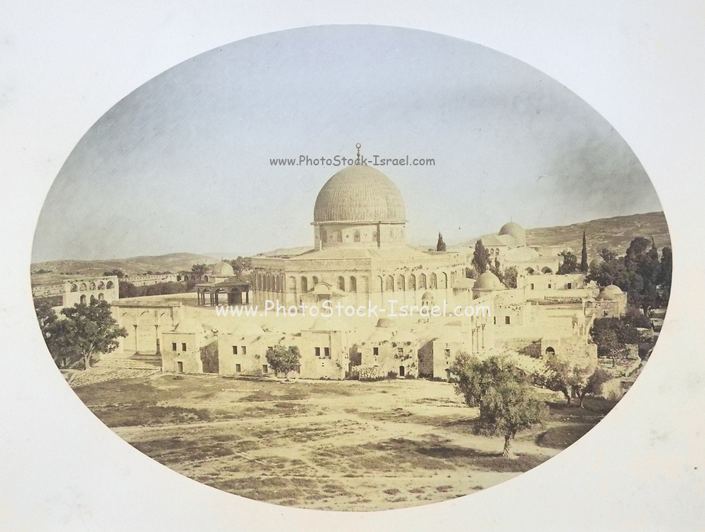 Machine colorized (AI) 19th century Photography of the Dome of the Rock [Here as Jerusalem, Site of the Temple on Mount Moriah] Photographs, Albumen silver prints, 1857
