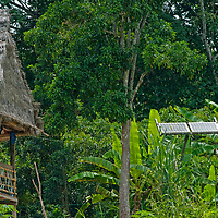 Solar panels power a hut in San Juan de Yanayacu village in Peru's Amazon Jungle.