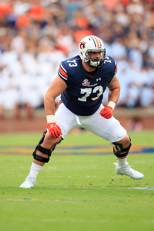 Auburn Tigers offensive lineman Austin Golson (73) during an NCAA football game against the Mississippi Rebels, Saturday, October 7, 2017, in Auburn, AL. Auburn won 44-23. (Paul Abell via Abell Images for Chick-fil-A Peach Bowl)