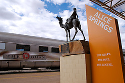 The famous Ghan train at Alice Springs railway station in Australia