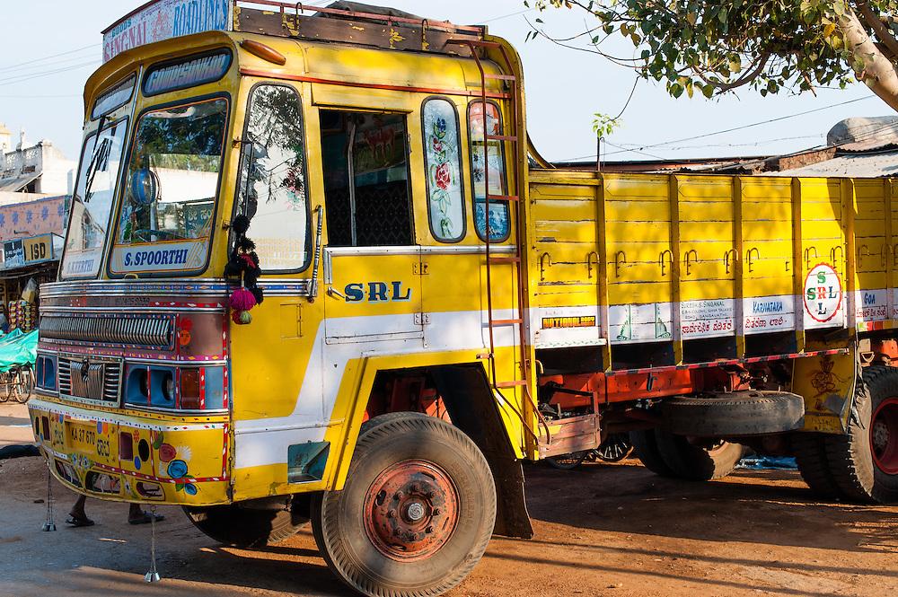 Yellow truck in India