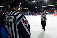 KELOWNA, BC - MARCH 7: Referee Chris Crich stands on the ice at the Kelowna Rockets against the Lethbridge Hurricanes at Prospera Place on March 7, 2020 in Kelowna, Canada. (Photo by Marissa Baecker/Shoot the Breeze)