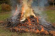 A large pile of burning yard debris.