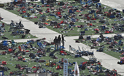 October 3, 2017 - Las Vegas, Nevada, U.S. - FBI officials start their second day investigation at the concert scene after Sundays mass shooting. The latest on victims as of Tuesday is still 59 dead, 527 injured last reported Monday night. The shooting happen during day 3 of the Route 91 Harvest Festival. (Credit Image: © Gene Blevins via ZUMA Wire)