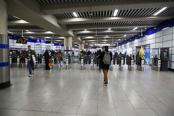 © Licensed to London News Pictures. 04/03/2020. London, UK. A less busy at Tottenham Court Road station ticket barriers just after 2pm as number of people are either working from home or not travelling on the underground system due to Coronavirus outbreak. Thirty four new cases of Coronavirus have been confirmed in the UK, taking the total number to eighty five. Photo credit: Dinendra Haria/LNP