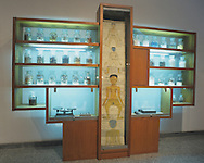 Traditional medicine's panel and boxes in a local national museum