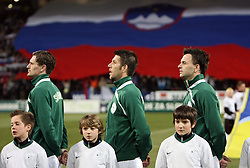 Milivoje Novakovic, Bostjan Cesar and Suad Filekovic  of Slovenia listening to the national anthem before the 8th day qualification game of 2010 FIFA WORLD CUP SOUTH AFRICA in Group 3 between Slovenia and Czech Republic at Stadion Ljudski vrt, on March 28, 2008, in Maribor, Slovenia. Slovenia vs Czech Republic 0 : 0. (Photo by Vid Ponikvar / Sportida)