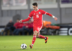 NEWPORT, WALES - Tuesday, October 16, 2018: Wales' Robbie Burton in action during the UEFA Under-21 Championship Italy 2019 Qualifying Group B match between Wales and Switzerland at Rodney Parade. (Pic by Laura Malkin/Propaganda)