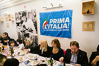 LUGO, ITALY - 5 JANUARY 2020: Supporters of Matteo Salvini, former Interior Minister of Italy and leader of the far-right League party, attend the League party dinner in Lugo, Italy, on January 5th 2020.<br /> <br /> Matteo Salvini is campaigning in the region of Emilia Romagna to support the League candidate Lucia Borgonzoni running for governor.<br /> <br /> After being ousted from government in September 2019, Matteo Salvini has made it a priority to campaign in all the Italian regions undergoing regional elections to demonstrate that, in power or not, he still commands considerable support.<br /> <br /> The January 26th regional elections in Emilia Romagna, traditionally the home of the Italian left, has been targeted by Matteo Salvini as a catalyst for bringing down the government. A loss for the center-left Democratic Party (PD) against Mr Salvini's right would strip the centre-left party of control of its symbolic heartland, and probably trigger a crisis in its coalition with the Five Star Movement.