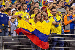 September 11, 2018 - East Rutherford, NJ, U.S. - EAST RUTHERFORD, NJ - SEPTEMBER 11: Colombia fans sing along during the national anthem before the start of the International Friendly Soccer match between Argentina and Colombia on September 11, 2018 at MetLife Stadium in East Rutherford, NJ. (Photo by John Jones/Icon Sportswire) (Credit Image: © John Jones/Icon SMI via ZUMA Press)