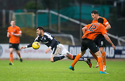 Dundee's Kane Hemmings and Dundee United's Ryan McGowan. <br /> Dundee 2 v 1  Dundee United, SPFL Ladbrokes Premiership game played 2/1/2016 at Dens Park.
