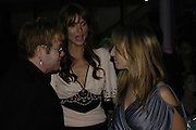 Sir Elton John, Saffron Burrows and Sam Taylor Wood, The 7th GQ Man of the Year Awards, Royal Opera House. 7 September 2004. In association with Armani Mania. SUPPLIED FOR ONE-TIME USE ONLY-DO NOT ARCHIVE. © Copyright Photograph by Dafydd Jones 66 Stockwell Park Rd. London SW9 0DA Tel 020 7733 0108 www.dafjones.com