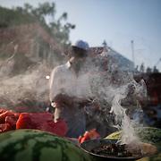 A watermelon vendor near the Jama Masjid on friday afternoon