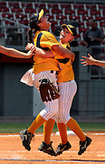 Naples High School softball pitcher Jaclyn Traina, left, and second baseman Katie Raile celebrate their team's victory over Pembroke Pines Charter in the Class 4A State Championship game at Plant City Stadium, Saturday, May 10, 2008. The Eagles defeated the nationally No. 1 ranked team, 5-3, to take home the title.