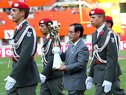 16.07.2011, Ernst Happel Stadion, Wien, AUT, American Football WM 2011, United States of America (USA) vs Canada (CAN), im Bild Takao Abe (Mayor from the Japanese City Kawasaki) with the Trophy // during the American Football World Championship 2011 game, USA vs Canada, at Ernst Happel Stadion, Wien, 2011-07-16, EXPA Pictures © 2011, PhotoCredit: EXPA/ T. Haumer
