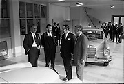 03/06/1964<br /> 06/03/1964<br /> 03 June 1964<br /> Mercedes introduce new cars to the Irish Market at a reception held at Ballsbridge Motors Ltd., Dublin. The cars were the Mercedes benz Type 220SE de Luxe and Type 190C Automotive. Picture shows (l-r): Mr. F. Wyse, Managing Director, Central Garage, Parnell Place, Cork; Mr. P.J. Moylett, General Sales Manager, Ballsbridge Motors Ltd.; Mr. M. O'Flaherty, Director, Ballsbridge Motors; and Mr. T. Andrews, General Manager, Ballsbridge Motors Ltd. in front of one of the new cars in the showroom.