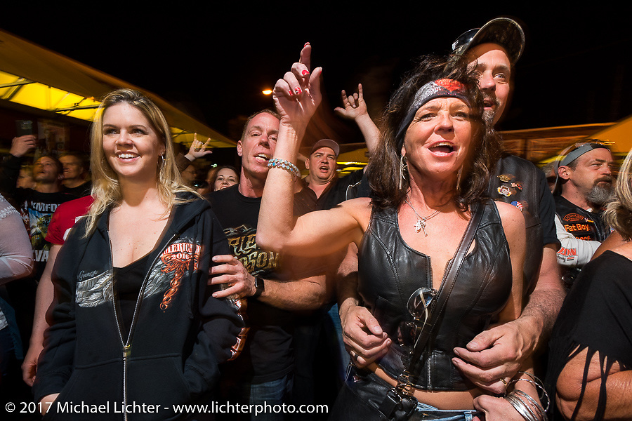 The Full Moon Saloon Main Street was rocking  at the end of the first day of Daytona Beach Bike Week. FL. USA. Saturday March 11, 2017. Photography ©2017 Michael Lichter.