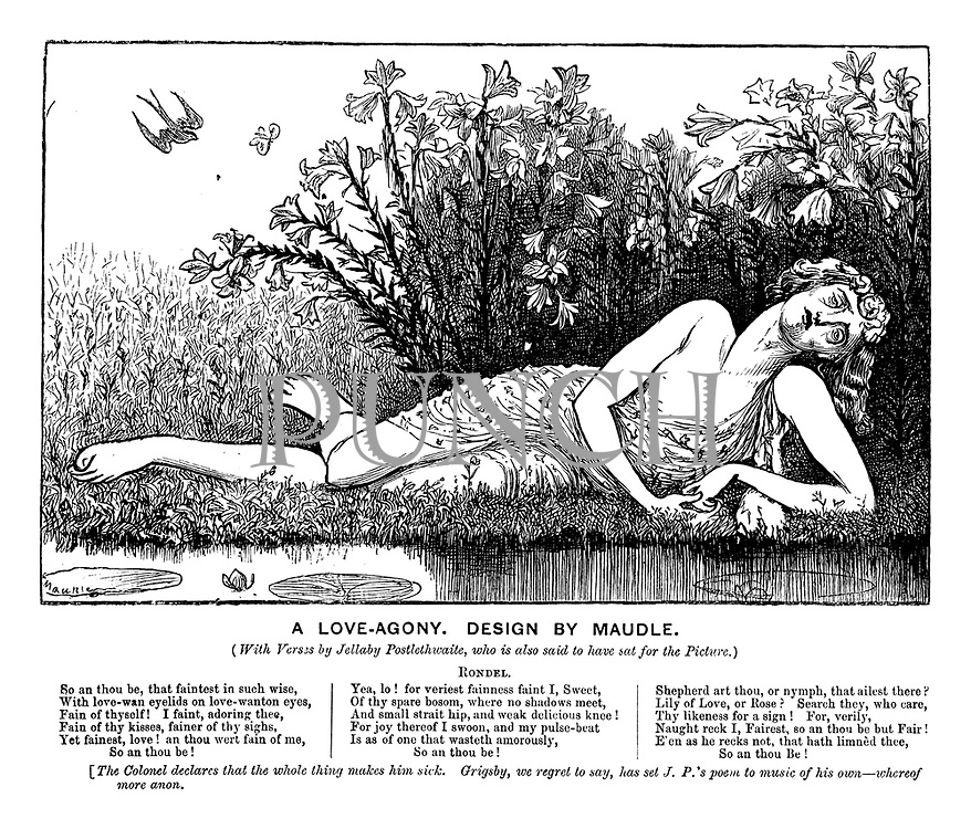 A Love-Agony. Design by Maudle. (With verses by Jellaby Postlethwaite, who is also said to have sat for the picture.)