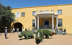 Grass sculpture of rhinos during the Cape Town Flower Show held at the Castle of Good Hope between the 27th and the 30th October 2016.<br /> <br /> Photo by Ron Gaunt/ RealTime Images