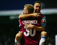 debut boy mark noble celebrate with luke chadwick made the goal for marlon harewood-F A CUP 3RD ROUND-08 JAN 2005-WEST HAM V NORWICH-COLORSPORT / KIERAN GALVIN
