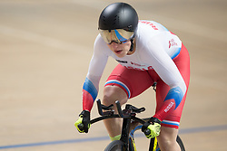 March 2, 2019 - Pruszkow, Poland - Daria Shmeleva (RUS) competes on day four of the UCI Track Cycling World Championships held in the BGZ BNP Paribas Velodrome Arena on March 02 2019 in Pruszkow, Poland. (Credit Image: © Foto Olimpik/NurPhoto via ZUMA Press)