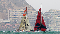 08_032645 © Sander van der Borch.Alicante, 11 October 2008. Start of the Volvo Ocean Race. Puma and Ericcson 4 at the left side of the beat hugging the coast line towards the top mark of the first leg to from Alicante  to Capetown..