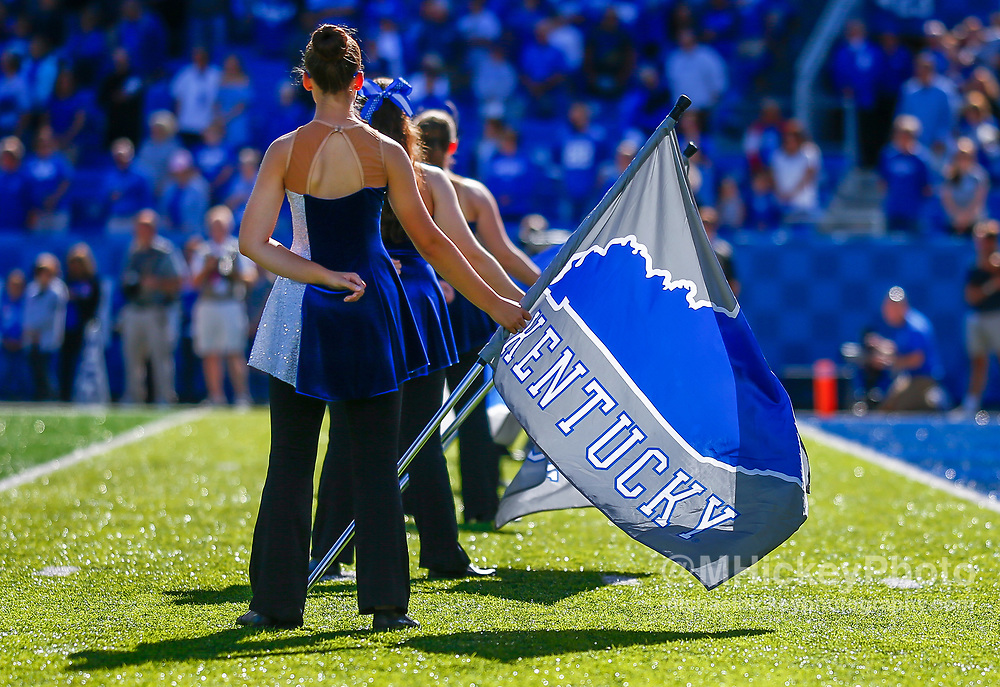 LEXINGTON, KY - SEPTEMBER 30: A member of the Kentucky Wildcats marching band color guard is seen before the game against the Eastern Michigan Eagles at Commonwealth Stadium on September 30, 2017 in Lexington, Kentucky. (Photo by Michael Hickey/Getty Images)