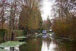 04 February 2021. Le Blanc Pignon, Pas de Calais, France.<br /> Record flooding from the Canche river inundates roads surrounding the town of Le Blanc Pignon in Pas de Calais in north western France.<br /> Photo©; Charlie Varley/varleypix.com<br /> All rights managed.