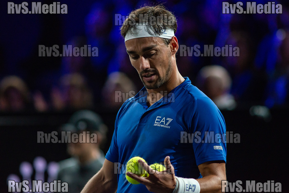 GENEVA, SWITZERLAND - SEPTEMBER 20: Fabio Fognini of Team Europe looks on during Day 1 of the Laver Cup 2019 at Palexpo on September 20, 2019 in Geneva, Switzerland. The Laver Cup will see six players from the rest of the World competing against their counterparts from Europe. Team World is captained by John McEnroe and Team Europe is captained by Bjorn Borg. The tournament runs from September 20-22. (Photo by Monika Majer/RvS.Media)