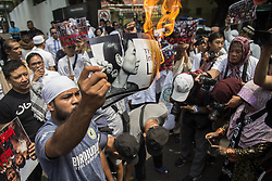 September 2, 2017 - Jakarta, Indonesia - Hundreds of members of radical Islamic groups demonstrate in front of the Myanmar embassy in Jakarta, to protest growing violence against Rohingya Muslims. (Credit Image: © Donal Husni via ZUMA Wire)