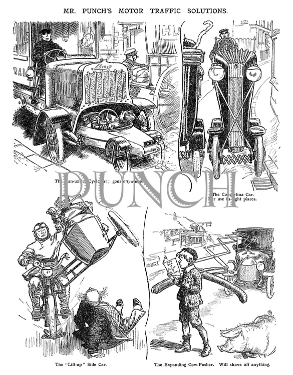 """Mr Punch's Motor Traffic Solutions. The Run-under Cycle-car; goes anywhere. The Concertina Car. For use in tight places. The """"Lift-up"""" Side Car. The Expanding Cow-Pusher. Will shove off anything."""