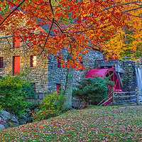 New England peak fall foliage colors framing the iconic Wayside Inn Grist Mill in Sudbury, Massachusetts.<br /> <br /> Massachusetts peak fall foliage photos are available as museum quality photo, canvas, acrylic, wood or metal prints. Wall art prints may be framed and matted to the individual liking and interior design decoration needs:<br /> <br /> https://juergen-roth.pixels.com/featured/massachusetts-peak-fall-foliage-colors-at-the-sudbury-grist-mill-juergen-roth.html<br /> <br /> Good light and happy photo making!<br /> <br /> My best,<br /> <br /> Juergen