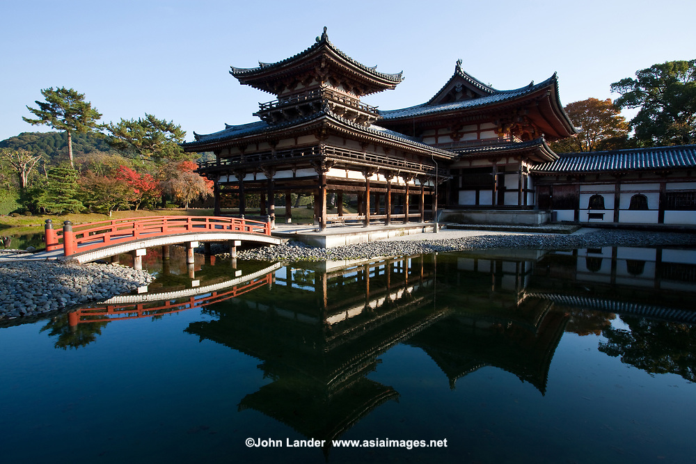 24. Byodo-in 平等院 is well known in Japan, so much so that its outline is featured on the 10 YEN coin. Byodo-in was originally a private residence like many Japanese temples.  It was converted into a temple by the Fujiwara clan in 1052. The Phoenix Hall, the 8 foot tall statue of Amida inside it and several other items at Byodoin have been declared Japanese National Treasures. The pond garden at Byodo-in is considered to be one of best examples of a Pure Land garden in Japan.