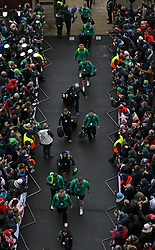 The Ireland team arrive for the NatWest 6 Nations match at Twickenham Stadium, London.