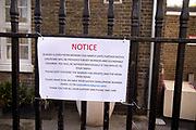 Daily life continues but not as as normal with some rules and restrictions in Hackney on 21st March 2020 in London, United Kingdom. Notice on London Fields primary school, saying it is closed.