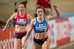 Lianne van Krieken in action on the 200 meter during AA Drink Dutch Athletics Championship Indoor on 21 February 2021 in Apeldoorn.