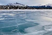 Abraham Lake frozen in winter, Alberta Canada