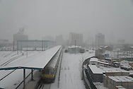New York, Queens under the snow view from the elevated subway