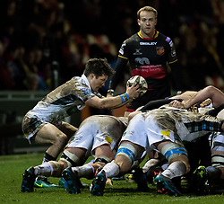 Glasgow Warriors' Henry Pyrgos puts in at the scrum<br /> <br /> Photographer Simon King/Replay Images<br /> <br /> Guinness PRO14 Round 14 - Dragons v Glasgow Warriors - Friday 9th February 2018 - Rodney Parade - Newport<br /> <br /> World Copyright © Replay Images . All rights reserved. info@replayimages.co.uk - http://replayimages.co.uk