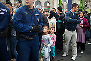 Hungary, Budapest, Keleti Station. Refugees wait for trains to Austria and Germany