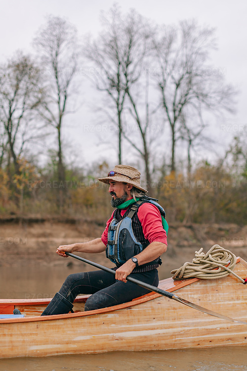 John Ruskey of Quapaw Canoe Company leads a canoe trip on the lower Mississippi River. Photo © Robert Zaleski / rzcreative.com<br /> —<br /> To license this image for editorial or commercial use, please contact Robert@rzcreative.com