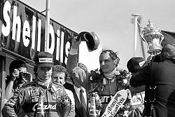 File photo dated 18-07-1982 of Austrian Niki Lauda celebrates victory in the British Grand Prix at Brands Hatch.
